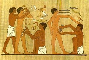 Сцена обрезания. Изображение на египетской гробнице
